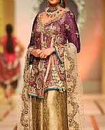 Plum/Golden Crinkle Chiffon Suit- Pakistani Formal Designer Dress