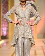 Light Grey Crinkle Chiffon Suit- Pakistani Formal Designer Dress