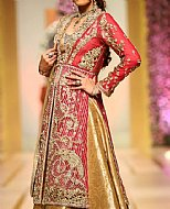 Magenta/Golden Crinkle Chiffon Suit- Pakistani Bridal Dress