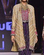 Golden/Indigo Crinkle Chiffon Suit- Pakistani Formal Designer Dress