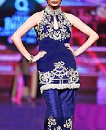 Blue Silk Suit- Pakistani Party Wear Dress