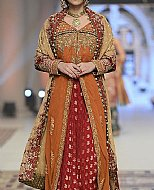 Rust/Red Crinkle Chiffon Suit- Pakistani Party Wear Dress