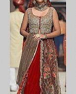Grey/Red Crinkle Chiffon Suit- Pakistani Formal Designer Dress