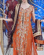 Orange Crinkle Chiffon Suit- Pakistani Party Wear Dress