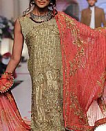 Golden/Carrot Crinkle Chiffon Suit- Pakistani Formal Designer Dress
