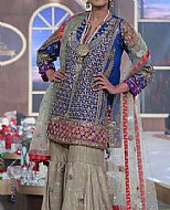 Blue/Beige Crinkle Chiffon Suit- Pakistani Party Wear Dress