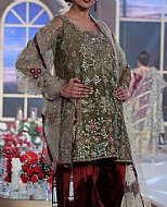Olive/Maroon Chiffon Suit- Pakistani Formal Designer Dress
