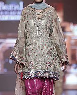 Sand Grey Crinkle Chiffon Suit- Pakistani Party Wear Dress