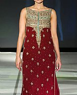 Maroon Crinkle Chiffon Suit- Pakistani Party Wear Dress