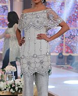 Silver Crinkle Chiffon Suit