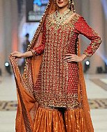 Red/Orange Jamawar Chiffon Suit- Pakistani Formal Designer Dress