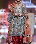 Slate Grey/Red Silk Suit- Pakistani Party Wear Dress