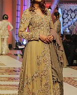 Golden Crinkle Chiffon Suit- Pakistani Formal Designer Dress
