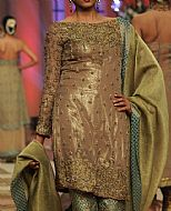 Beige/Pistachio Silk Suit- Pakistani Formal Designer Dress