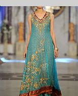 Turquoise Crinkle Chiffon Suit- Pakistani Party Wear Dress