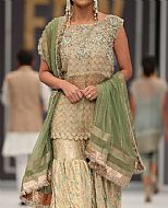 Light Golden Chiffon Suit- Pakistani Formal Designer Dress