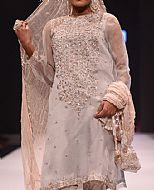 Grey/Peach Chiffon Suit- Pakistani Formal Designer Dress