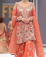 Coral Crinkle Chiffon Suit- Pakistani Bridal Dress