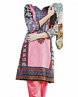 Pink/Blue Cotton Lawn Suit- Shalwar Kameez