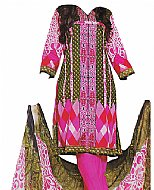 Hot Pink/White Cotton Lawn Suit- Casual Dress