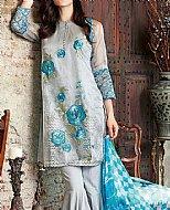 Grey/Turquoise Zari Net Suit