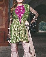 Green/Fawn Chiffon Suit