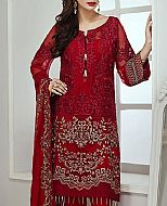 Deep Red Chiffon Suit