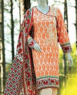 Ivory/Orange Lawn Suit.