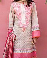 Beige/Hot Pink Lawn Suit