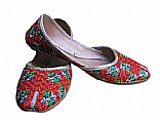 Ladies Khussa- Pink/Green- Khussa Shoes for Women
