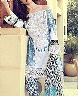 White/Turquoise Lawn Suit