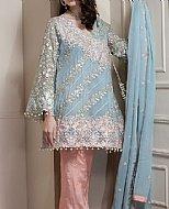 Turquoise/Peach Chiffon Suit