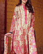 Ivory/Pink Lawn Suit- Cotton Lawn suit