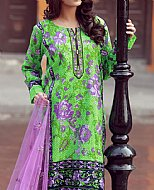 Parrot Green/Lilac Lawn Suit- Cotton dress