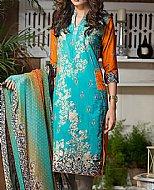 Turquoise/Orange Lawn Suit- Cotton Lawn suit