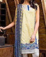 Yellow/Blue Lawn Suit.- Pakistani Designer Lawn Dress