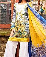Yellow/Blue Lawn Suit.- Cotton dress