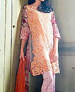 Peach Lawn Suit.- Pakistani Designer Lawn Dress