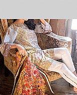 Beige/White Lawn Suit.- Pakistani Lawn