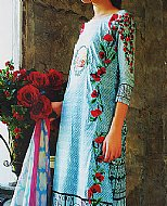 Turquoise Lawn Suit- Pakistani Designer Lawn Dress