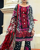 Black/Red Lawn Suit- Pakistani Designer Lawn Dress