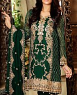 Dark Green Crinkle Chiffon Suit