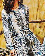 Off-White/Blue Jacquard Lawn Suit.- Pakistani Cotton dress