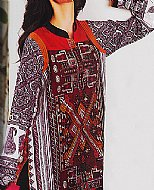 Maroon/Black Lawn Suit.- Pakistani Cotton dress