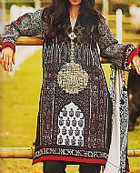 Red/Black Lawn Suit.- Pakistani Lawn
