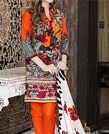 Orange/Black Khaddar Suit