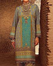 Dark Grey/Emerald Green Slub Lawn Suit (2 Pcs)- Pakistani Designer Lawn Dress