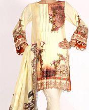 Cream Lawn Suit (2 Pcs)- Pakistani Designer Lawn Dress