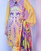 Sand Gold Georgette Suit- Pakistani Designer Chiffon Suit