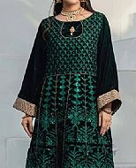 Bottle Green Velvet Kurti- Pakistani Winter Dress
